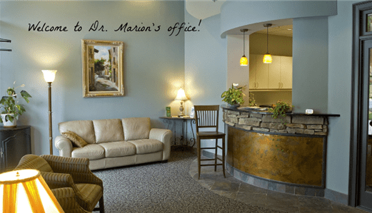 Waiting room and reception area at David P. Marion DDS PC.